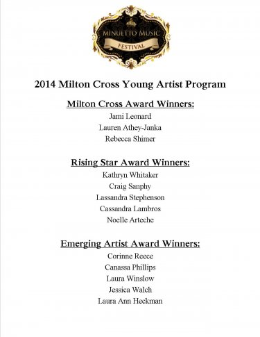 2014 Young Artist Winners